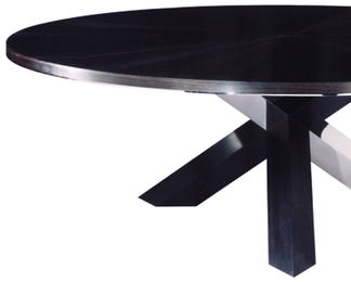 Ebony and Stainless Steel Dining Table