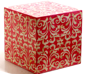 Fleur Red End Table/Stool