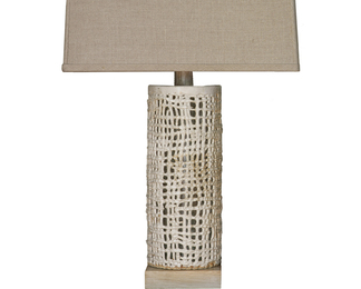 Tall Basket Weave Lamp - White