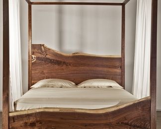 Queen Canopy Bed - Black Walnut