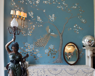 Somerset Peacocks Chinoiserie Wall