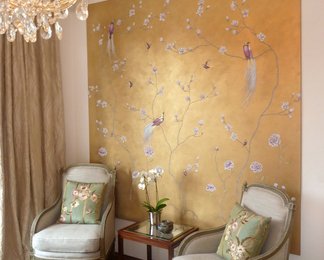 Golden Magnolia Chinoiserie Wall