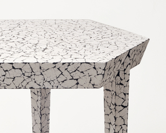 Hexagonal Side Table in Cracked Eggshell