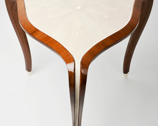 Three Leg Side Table in Shagreen and Walnut