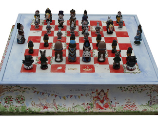 Printed Leather Alice Chess Set