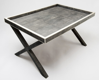 X Frame Butlers Tray in Shagreen and Bone