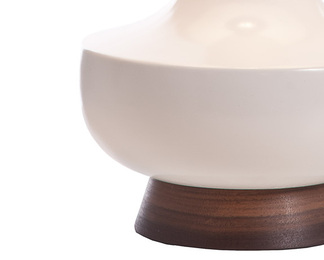 Alberta Table Lamp - White and Walnut