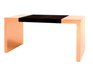 Polished Copper and Hide Desk