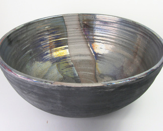 Virga Large Bowl - Platinum, Matte Ebony