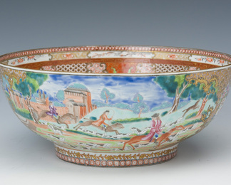 Hunting Scene Punch Bowl