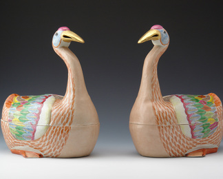 Famille Rose Goose Tureen and Cover