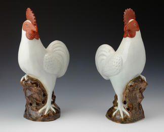 White Glazed Roosters
