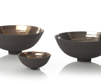 Black Bowl with Gold & Platinum Lustre  -Set