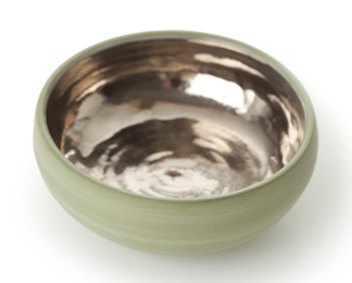 Sage Green Bowl with Platinum Lustre Interior