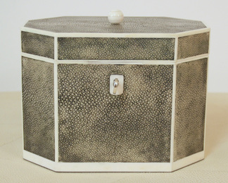 Octagonal Jewelry Box in Shagreen and Bone