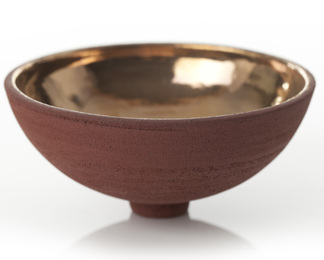 Red Bowl with Gold Lustre Interior