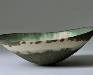 Dark Copper Green Shallow Bowl