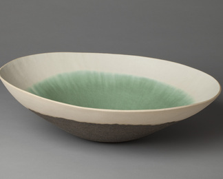 Large Dark Copper Green Bowl