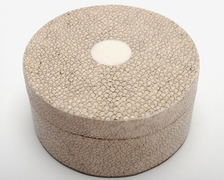 Circular Ring Box in Shagreen and Bone