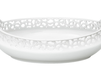 Basket Oval, Ivory Glazed
