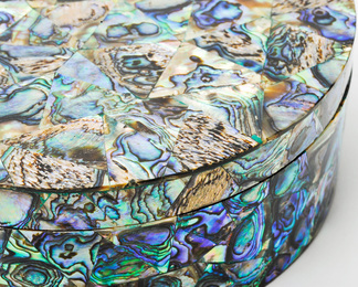 Circular Box in Paua Shell - Small