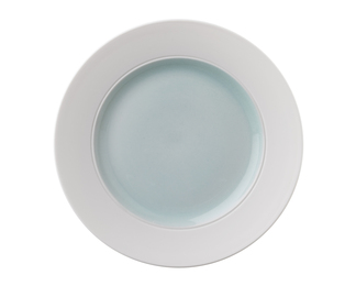 Lotos Plate - Aqua with Biscuit Rim
