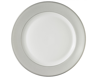 Lotos Plate - Greige with Platinum Rim
