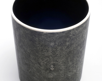 Circular Waste Basket in Shagreen and Bone