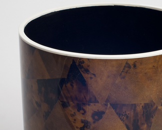 Circular Waste Basket in Penshell and Bone