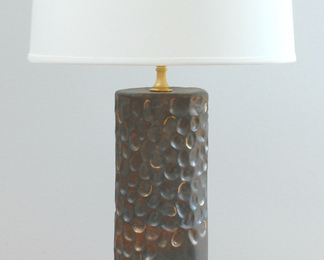 Carved Lamp with Shade- Black