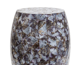 Drum side table in Lilac cowrie