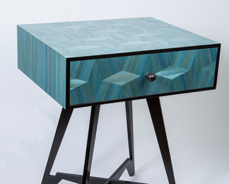Cellini bedside table in aqua straw marquetry