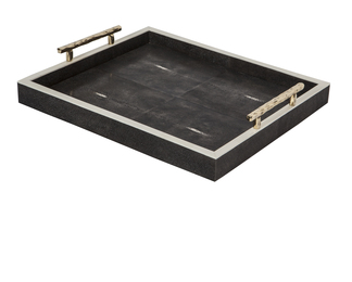 Charcoal black shagreen tray with brass handl