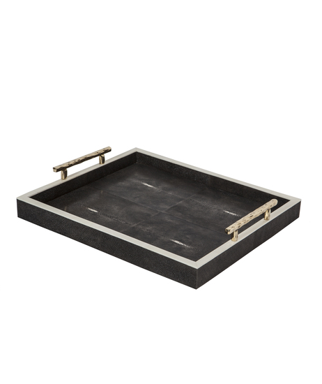 Charcoal_shagreen_tray_with_handles_top_view_main